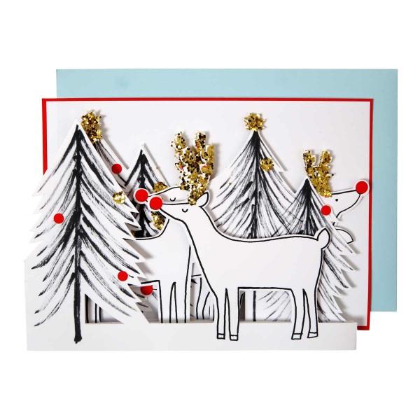 Rentier auffaltbare Weihnachtskarte 13x18 cm