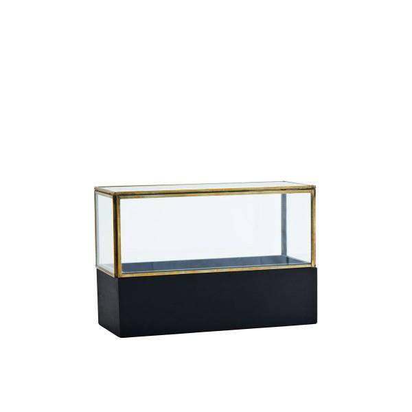Glasbox mit Holzboden schwarz 26 cm