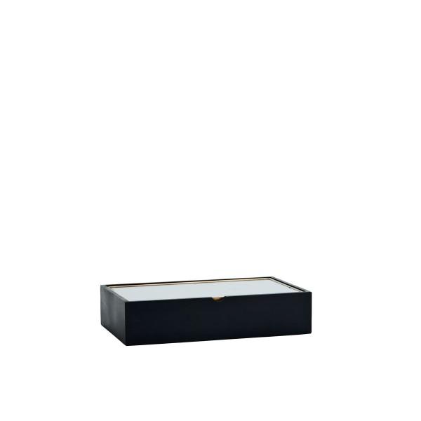 Madam Stoltz Holzbox mit Glasdeckel schwarz 23 cm