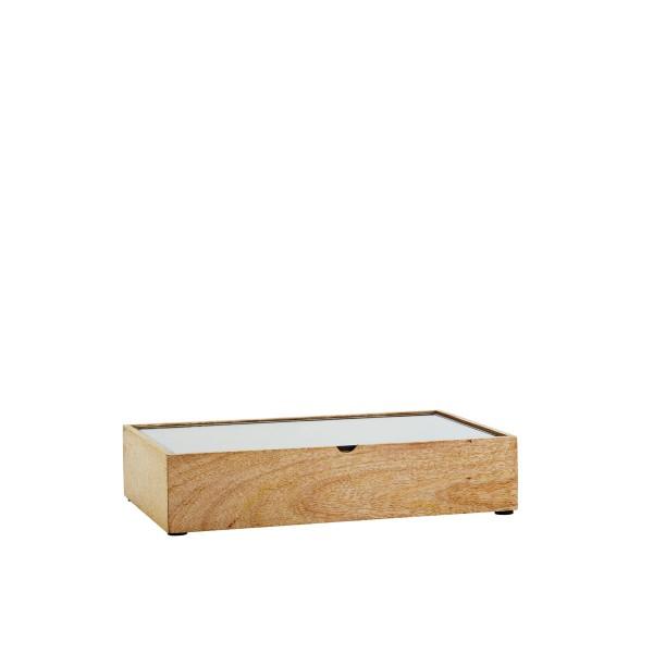 Holzbox mit Glasdeckel natur 28 cm