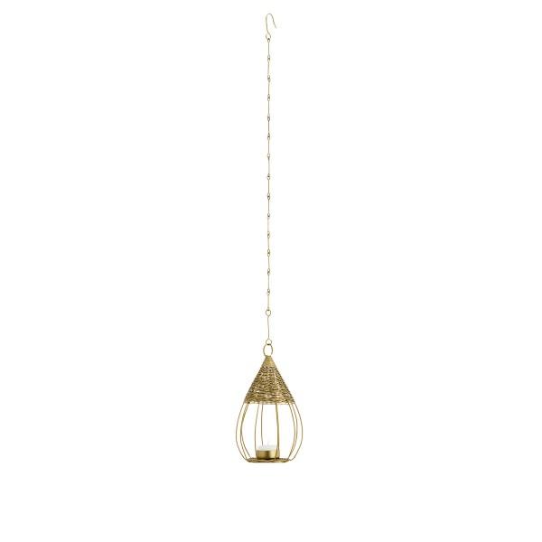 Hängender Vogelkäfig mit Dach Teelicht Gold 13x21 cm
