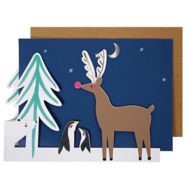Eisbär auffaltbare Weihnachtskarte 13x18 cm