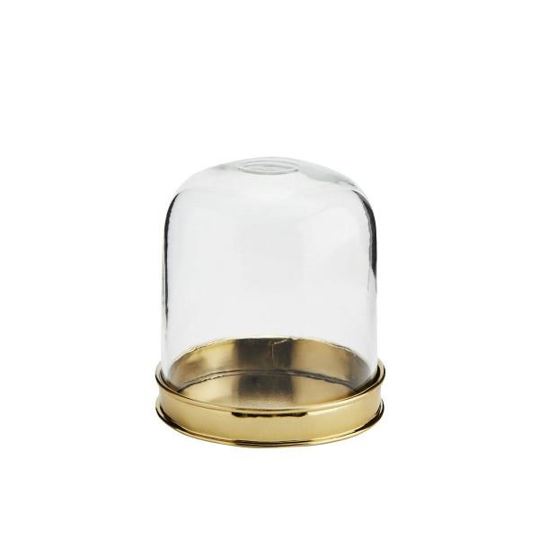 Glasdeckel mit Metallsockel Gold 9x10 cm
