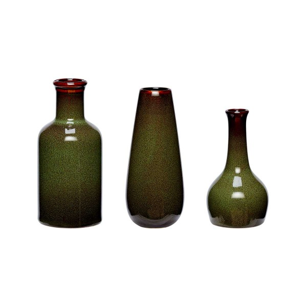 Hübsch Interior Keramik Vasen Set Grün 3 Stück Designhype