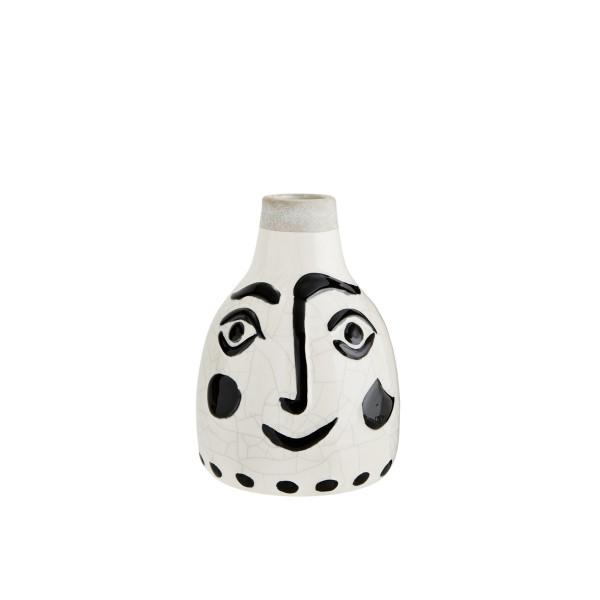 Madam Stoltz Vase Face Steingut schwarz weiss 14x21 cm