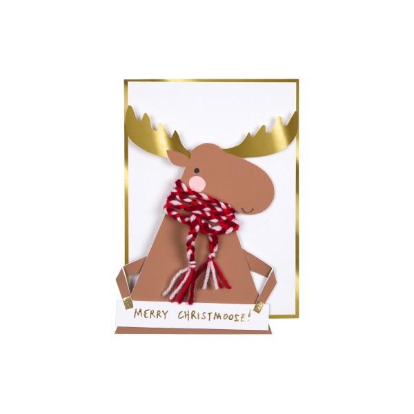 Elch auffaltbare Weihnachtskarte 13x18 cm