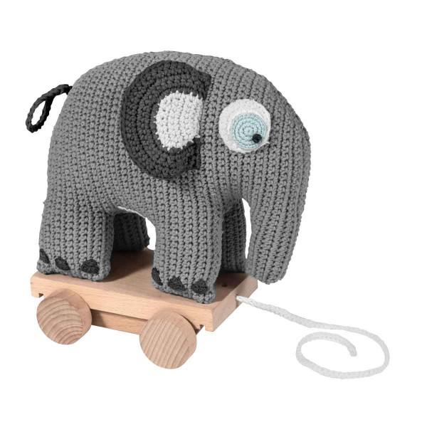 Nachziehtier Elefant gehäkelt grau