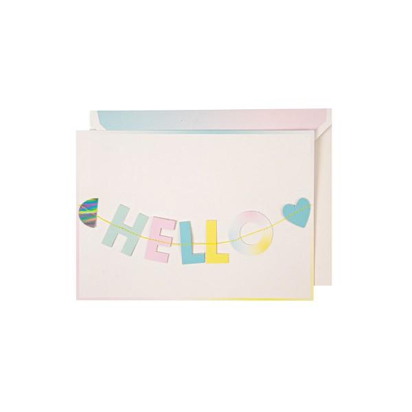 Hello Little One Girlande Grusskarte Geburt 13x18 cm