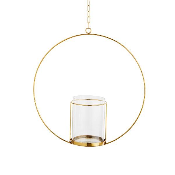 Windlicht mit Metallring gold 40 cm