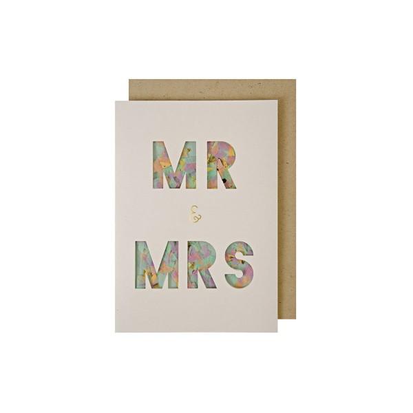 Mr & Mrs Konfetti Grusskarte Hochzeit 13x18 cm