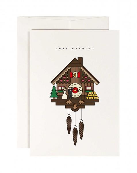 redfries cuckoo clock Kuckucksuhr Grusskarte Hochzeit 11x15,5 cm