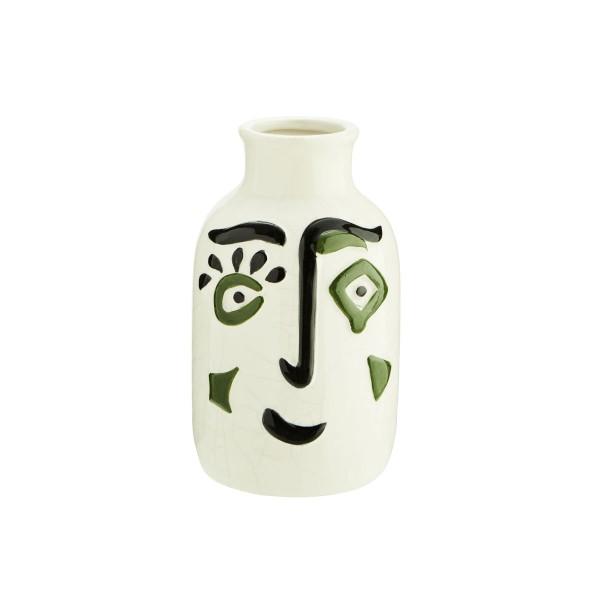 Vase Face Steingut weiss/schwarz/olive 10x17cm